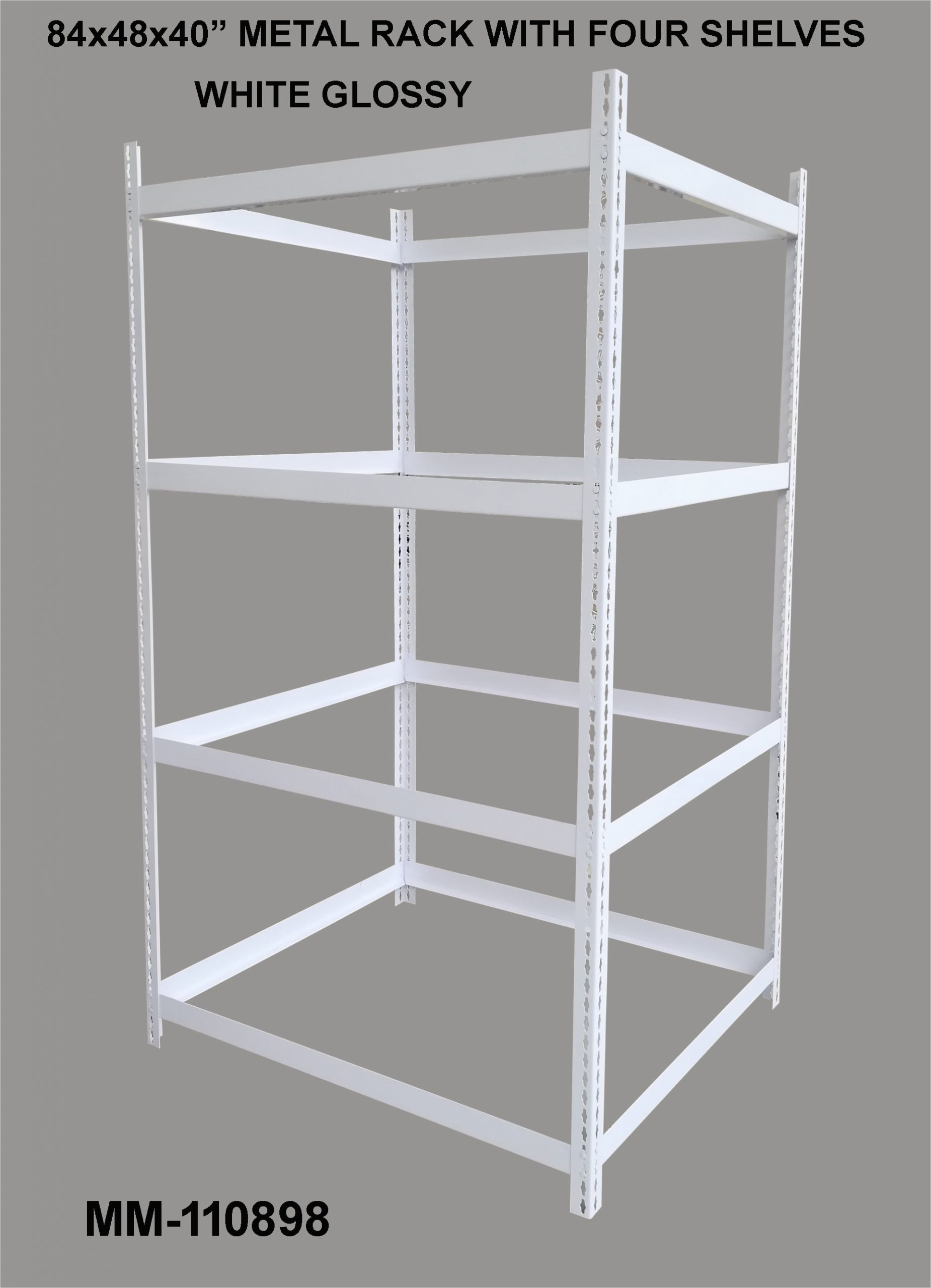 Metal Rack with four shelves white glossy