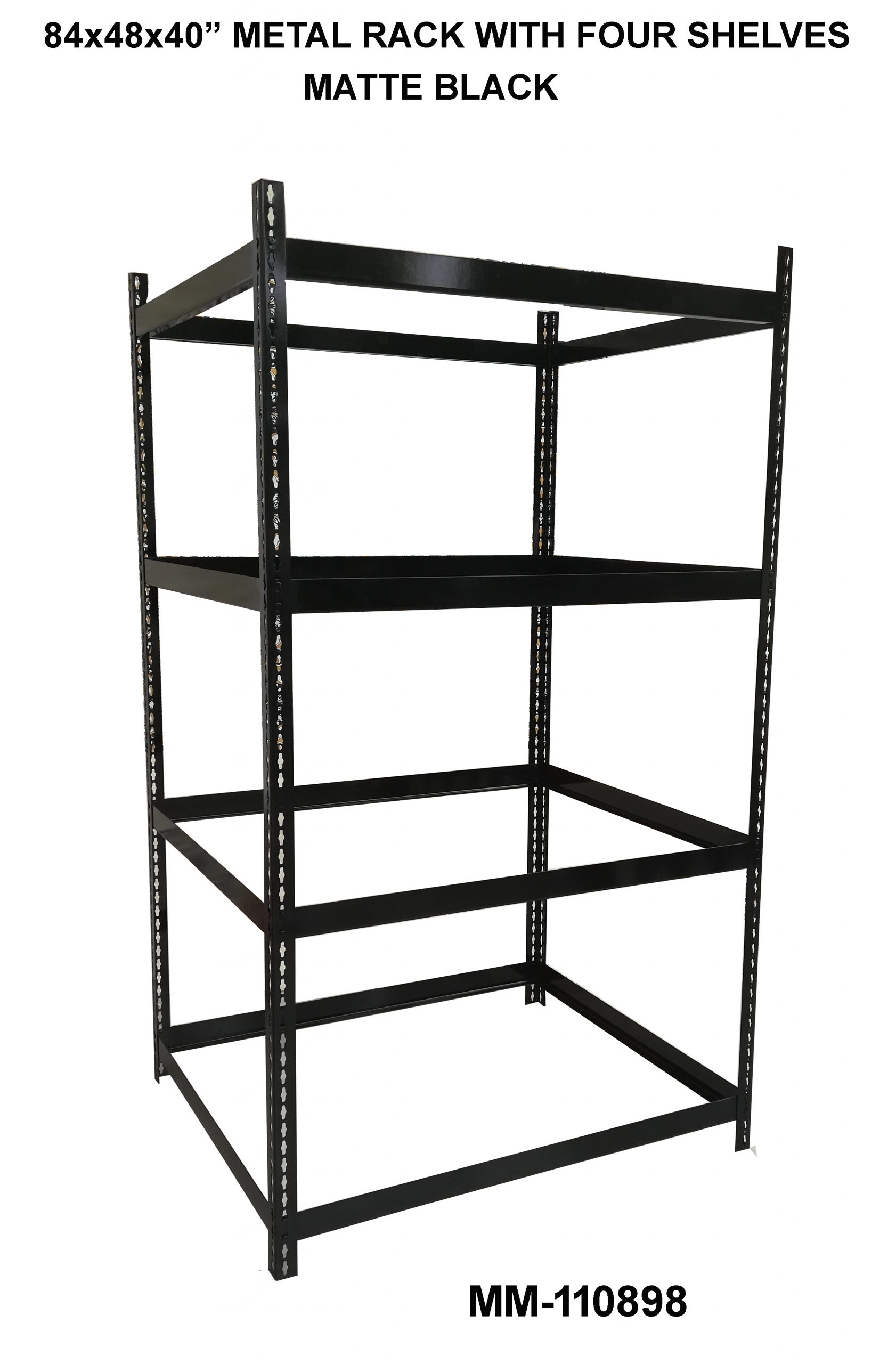 Metal Rack with four shelves white black